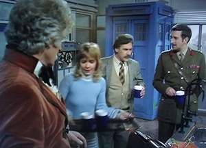 Dr. Tyler. the third Doctor, the Brigadier, and Jo